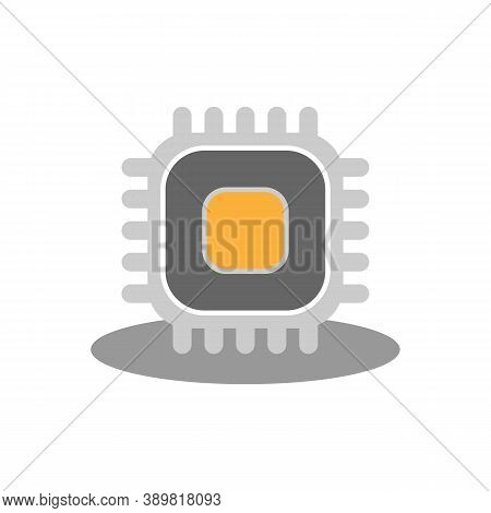 Processor Icon. Microprocessor. Gray With Orange On A White Background. Vector Eps10