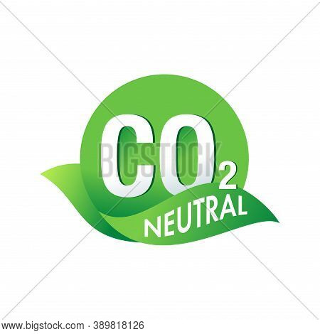Co2 Neutral Stamp - Zero Carbon Dioxide Emissions Logo For Eco-friendly Industrial Production - Vect