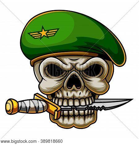 Military Commando Skull Army In Beret Of Illustration