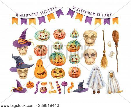 Watercolor Halloween. Jack-o-lantern Set. Skull It Witch Hat, Funny Ghosts, Festive Flags, Brooms. S