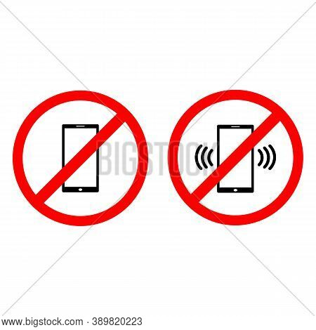 Set Icons. Disconnect Your Phone. Silent Mode. Phone In Silent Mode. Vector Eps10