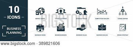 Business Planning Icon Set. Monochrome Sign Collection With Business Vision, Business Mission, Busin