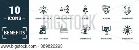 Benefits Icon Set. Monochrome Sign Collection With Sell E-book, Blogging, Drop Shipping, Online Stor
