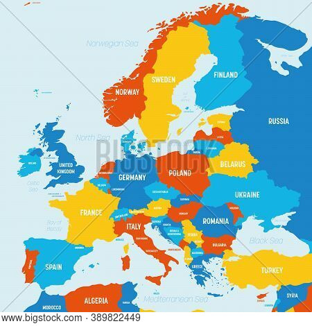 Europe Map - 4 Bright Color Scheme. High Detailed Political Map Of European Continent With Country,