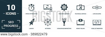 Seo Progress Icon Set. Monochrome Sign Collection With Launch, Network, Conversion Marketing, Money