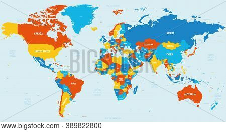 World Map - 4 Bright Color Scheme. High Detailed Political Map Of World With Country, Ocean And Sea