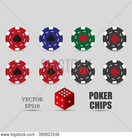 Poker Set Of Casino Chips Icons With Shadow. Red, Green, Blue, Black Poker Chips. Spades, Clubs, Dia