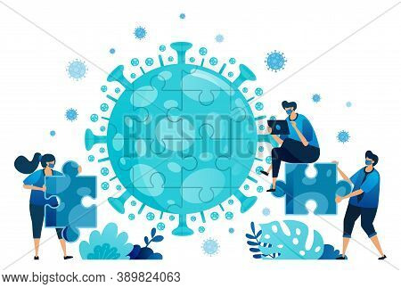Vector Illustration Of Teamwork And Brainstorming To Solve Problems And Find Solutions During The Co