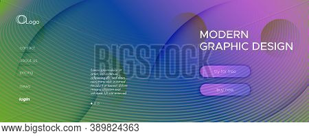 Fluid Geometric Abstract. Wave Gradient Shapes Movement. Colorful Minimal Brochure. Memphis Futurist