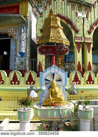Yangon, Myanmar - 04 Jan 2010: The Ancient Temple In Yangon, Rangoon, Myanmar