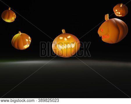 3d Illustration Rendering Helloween Pumpkin Many Are Floating On Black Background Big Spooky Hellowe