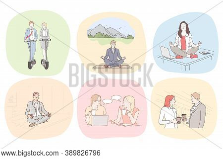 Recreation, Business, Meditation, Communication Set Concept. Collection Of Businesspeople Men Women
