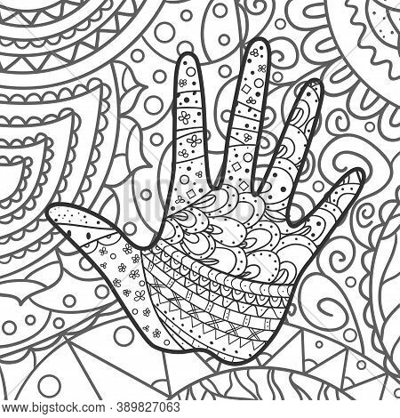Square Intricate Background. Hand Drawn Pattern. Human Hand. Black And White Illustration