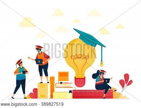 People In Graduation Caps, Stacks Of Books, Light Bulb. Stationery For School And Learning Students.