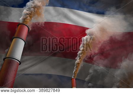 Pollution Fight In Costa Rica Concept - Industrial 3d Illustration Of Two Large Industrial Chimneys