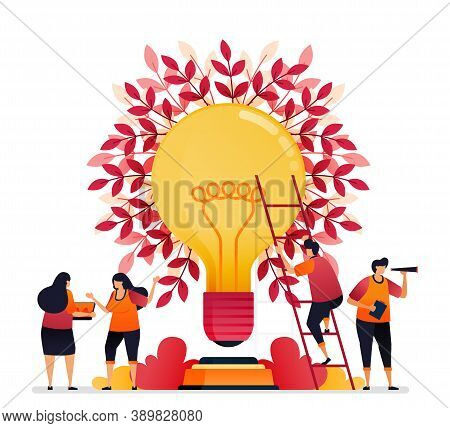 Vector Illustration Of Inspiration For Teamwork, Communication, Illumination, Brainstorming And Know