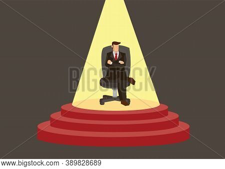 Businessman Sitting With Comfort With Spotlight On Top Of A Stage. Business Success Concept. Flat Ve