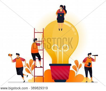 Vector Illustration Of Idea And Inspiration, Looking For Problem Solving With Brainstorming And Know