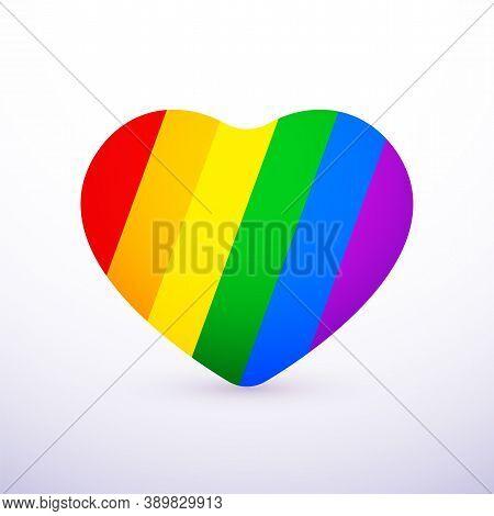 Rainbow Heart Flat Icon, Lgbt Community Sign, Gay Pride Lesbian Bisexual Transgender, Vector Symbol
