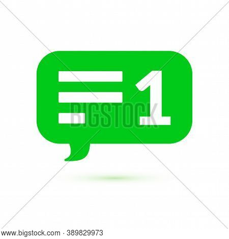 Green Message Counter, Comment Notification Ui Symbol, Vector Illustration Isolated On White Backgro