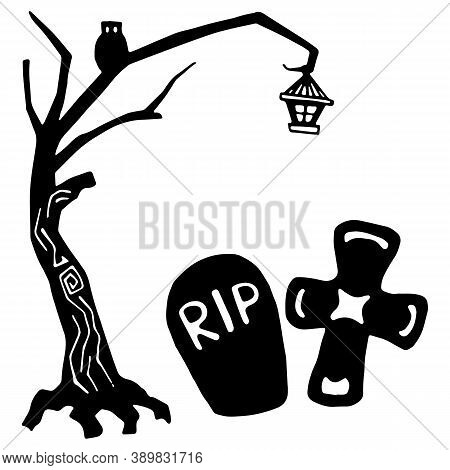 Rip Gravestone And Cross On White Isolated Backdrop. Spooky Tree For Invitation Or Gift Card, Notebo