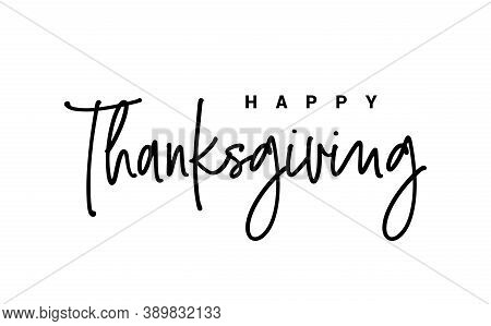Happy Thanksgiving Day Hand Painted Lettering. Thanksgiving Typography. Thanksgiving Design For Card
