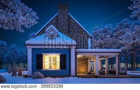 3D Rendering Of Modern Classic House In Colonial Style In Winter Night