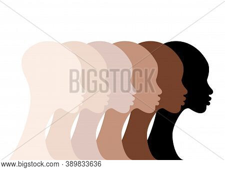 African Women Profile Silhouettes Skin Colors. Black Women Faces With Different Tone Of Skin. Portra