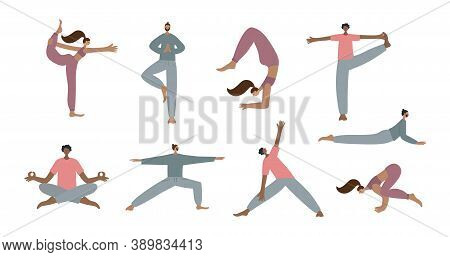 Person On Yoga Mat In Beginner Pose Asana Vector Illustration Set. Health Body And Mind Care Wellnes