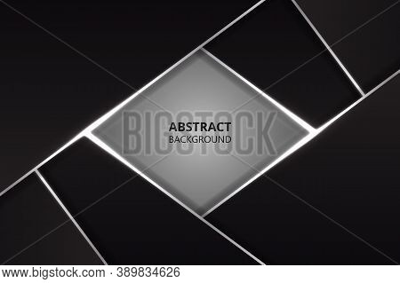 Modern Abstract Design Background With Black And Silver Metal Shapes. Dark Metal Texture.
