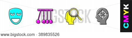 Set Comedy Theatrical Mask, Pendulum, Finding Problem And Icon. Vector