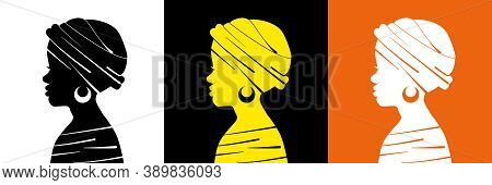 Poster With Three Female Profiles. African Young Girl In A Headscarf. Abstract Silhouette Of A Woman