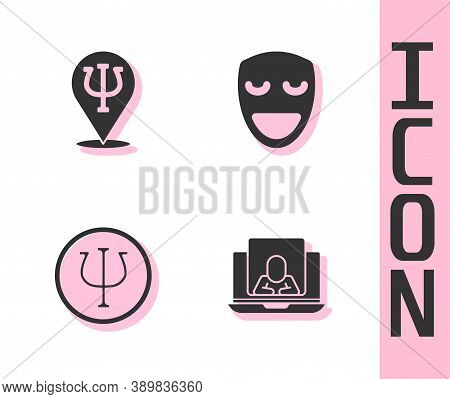 Set Psychologist Online, Psychology, Psi, And Comedy Theatrical Mask Icon. Vector