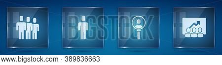 Set Users Group, Head Hunting, Search People And Project Team Base. Square Glass Panels. Vector