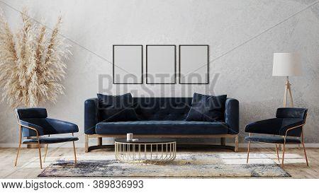 Three Blank Poster Frames On Gray Wall Mockup In Modern Luxury Interior Design With Dark Blue Sofa,