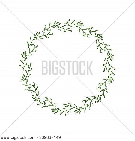 Round Frame Made Of Contour Green Twigs And Leaves. Elegant Wreath In A Linear Style. Decorative Doo