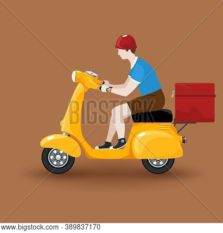 Young Guy Rides A Scooter, Orange Vintage Scooter With Box For Food Delivery Isolated On Brown Backg
