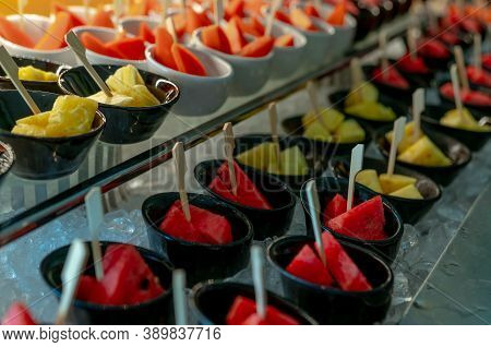 Selective Focus Tropical Fruit Buffet At Event In Restaurant. Catering Food. Fresh Watermelon And Pi