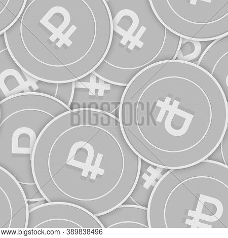 Russian Ruble Silver Coins Seamless Pattern. Uncommon Scattered Black And White Rub Coins. Success C