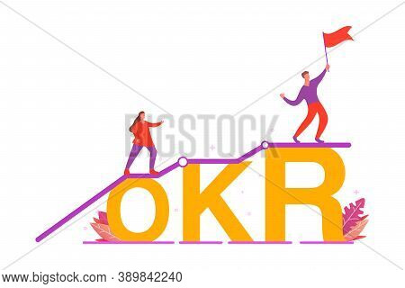 Okr Objectives And Key Results .business Concept.the Guy Is Waving The Flag.