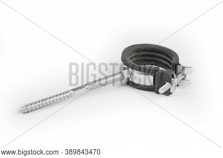 Metal Pipe Holder With A Ring And Bolt