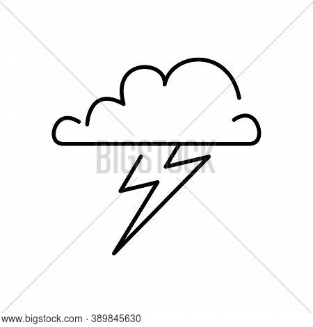 Stormy Outline Vector Icon. Thin Line Black Stormy Icon, Flat Vector Simple Element Illustration Fro