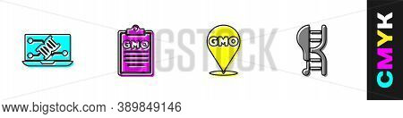 Set Genetic Engineering Modification, Gmo, And Genetically Modified Chicken Icon. Vector