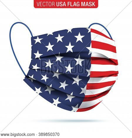 Vector Face Mask With Usa Flag Print. Virus Protection Medical Face Mask, With A Printed Flag Of The