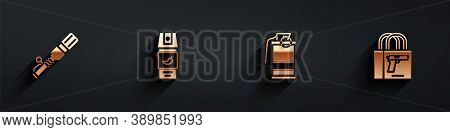 Set Anti-tank Hand Grenade, Pepper Spray, Hand Smoke And Buying Gun Pistol Icon With Long Shadow. Ve