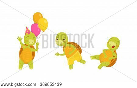 Funny Turtle Or Tortoise With Shell Running And Laughing Vector Set