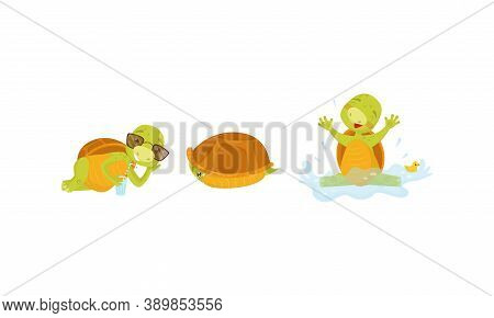Funny Turtle Or Tortoise With Shell Drinking Cocktail And Swimming Vector Set