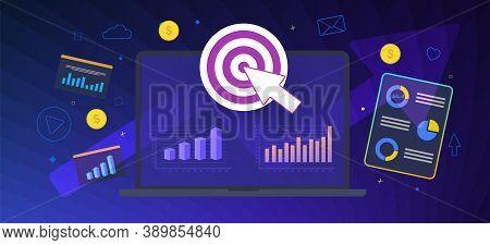 Online Media Target Flat Vector Business Concept. Audience Targeting In Digital And Online Social Me
