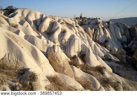 Cappadocia Tuff Formations On A Sunny Day. Volcanic Rock Formations In Cappadocia, Turkey. Beautiful