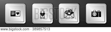 Set Valentines Day Party Flyer, Bottle With Love Potion, Envelope Heart And Photo Camera Icon. Silve